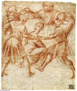 Polidoro Da Caravaggio - Young Men Dancing around a Woman
