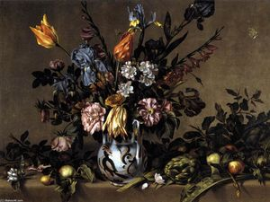 Antonio Ponce De Santa Cruz - Still-Life with Flowers, Artichokes and Fruit