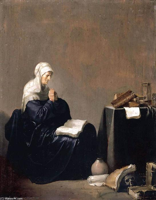 A Woman Praying by Willem De Poorter (1608-1668, Netherlands) | Paintings Reproductions Willem De Poorter | WahooArt.com