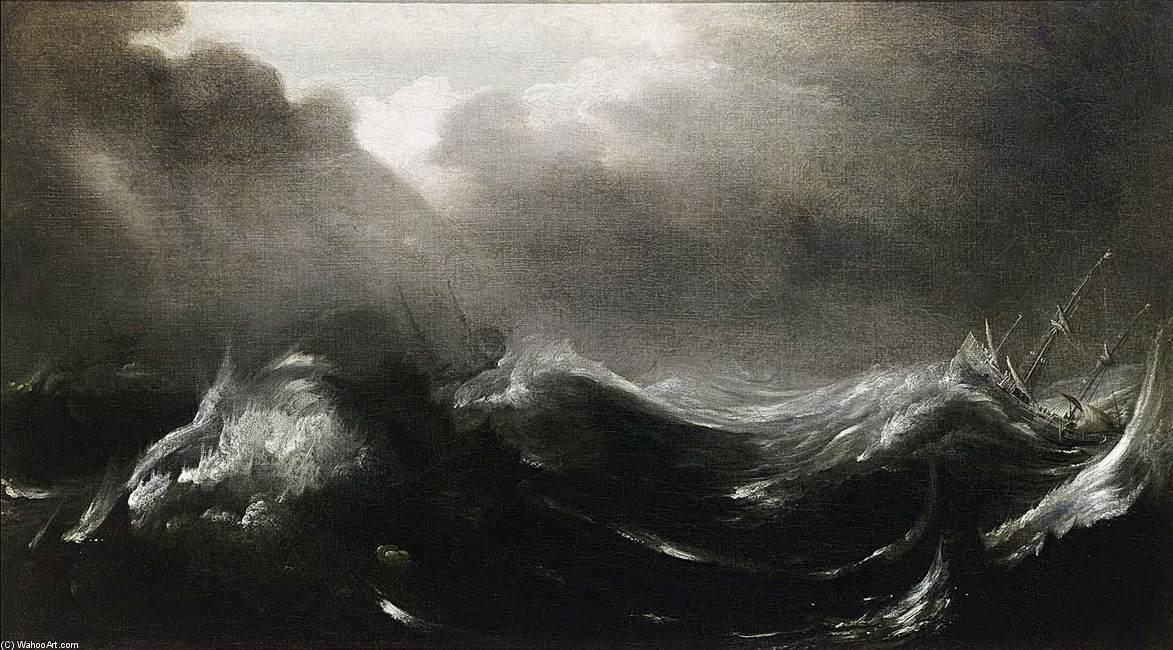 Shipping in Stormy Seas, Oil On Canvas by Jan Porcellis (1583-1632, Belgium)