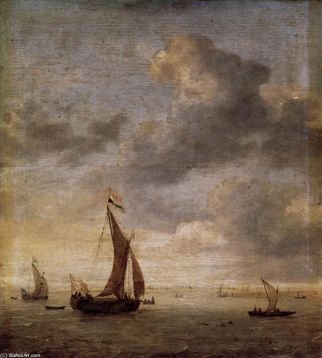Single-Masted Damlooper and Rowboat on a Breezy Day, Oil by Jan Porcellis (1583-1632, Belgium)