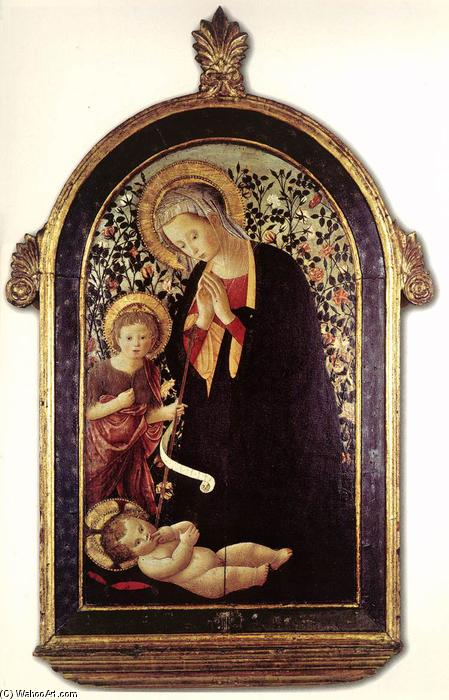 Adoration of the Child with the Young St John, 1480 by Pseudo Pier Francesco Fiorentino (1444-1497, Italy) | Reproductions Pseudo Pier Francesco Fiorentino | WahooArt.com