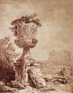 Hubert Robert - The Draughtsman of the Borghese Vase