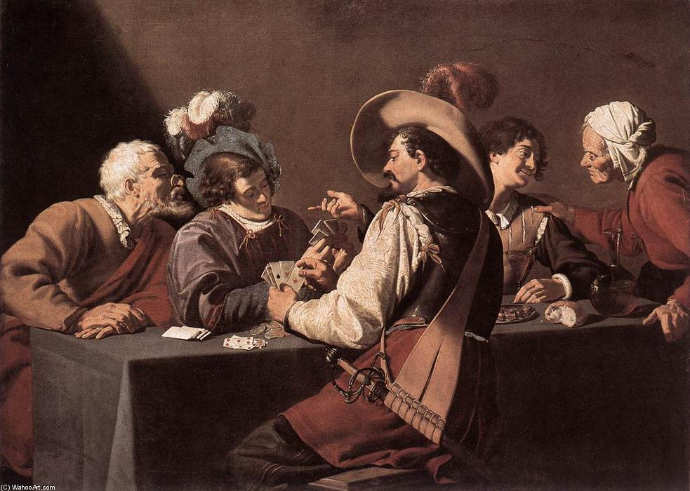 The Card Players, Oil On Canvas by Theodor Rombouts (1597-1637, Belgium)