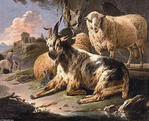 Philipp Peter Roos - Italianate Landscape with a Goat and Sheep