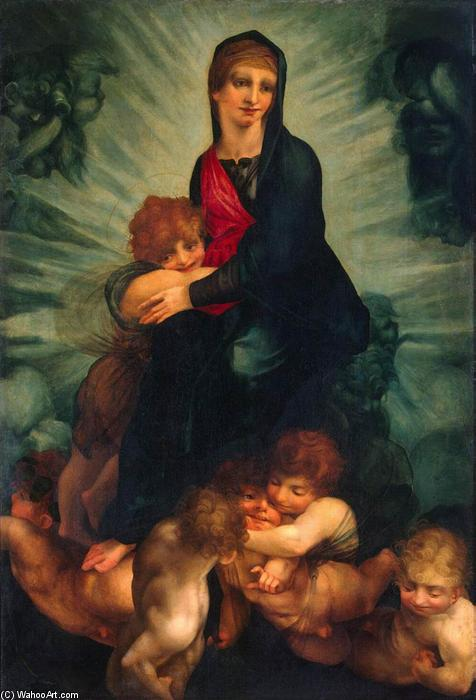 Madonna and Child with Putti, 1522 by Rosso Fiorentino (1495-1540, Italy) | Museum Art Reproductions Rosso Fiorentino | WahooArt.com