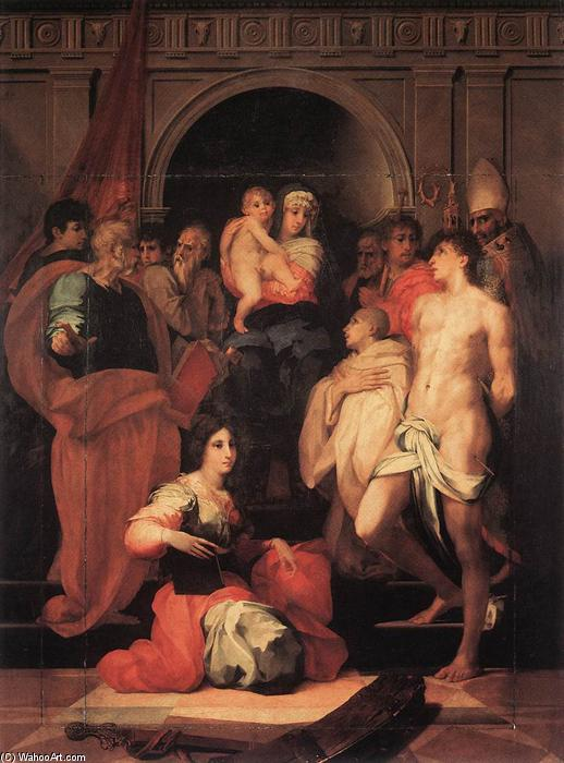 Madonna Enthroned and Ten Saints, 1522 by Rosso Fiorentino (1495-1540, Italy) | Museum Quality Reproductions | WahooArt.com