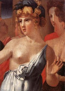 Rosso Fiorentino - Moses Defending the Daughters of Jethro (detail)