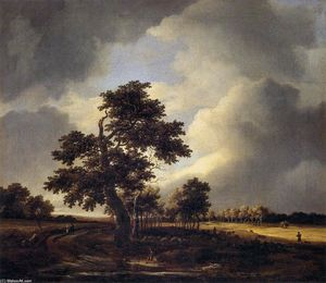 Jacob Isaakszoon Van Ruisdael (Ruysdael) - Landscape with Shepherds and Peasants
