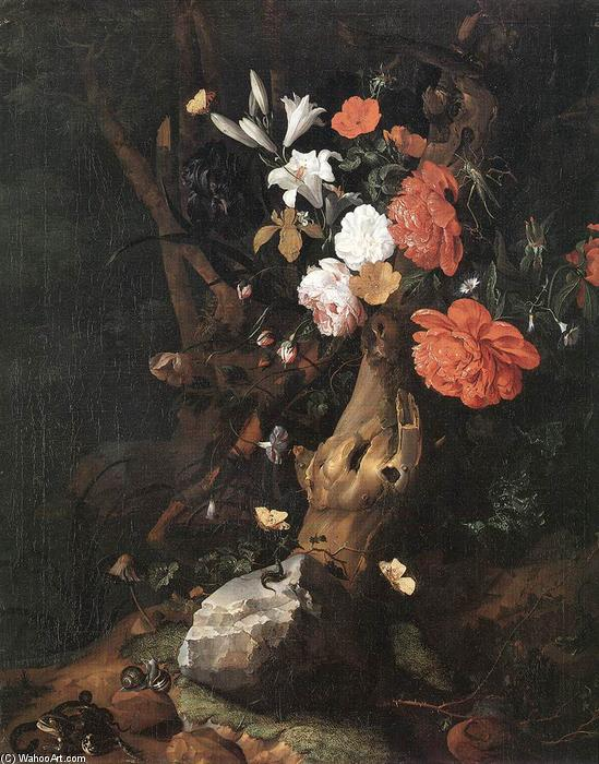 Flowers on a Tree Trunk by Rachel Ruysch (1664-1750, Netherlands) | WahooArt.com