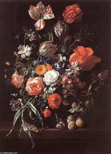 Rachel Ruysch - Still-Life with Bouquet of Flowers and Plums
