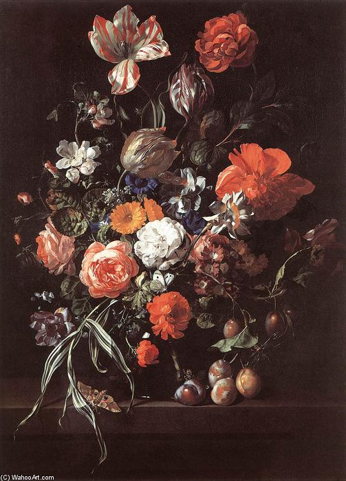 Still-Life with Bouquet of Flowers and Plums, Oil On Canvas by Rachel Ruysch (1664-1750, Netherlands)