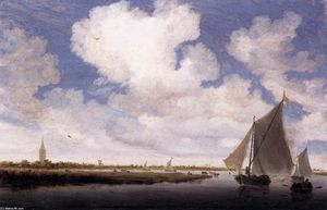 Salomon Van Ruysdael - Sailboats on the Wijkermeer