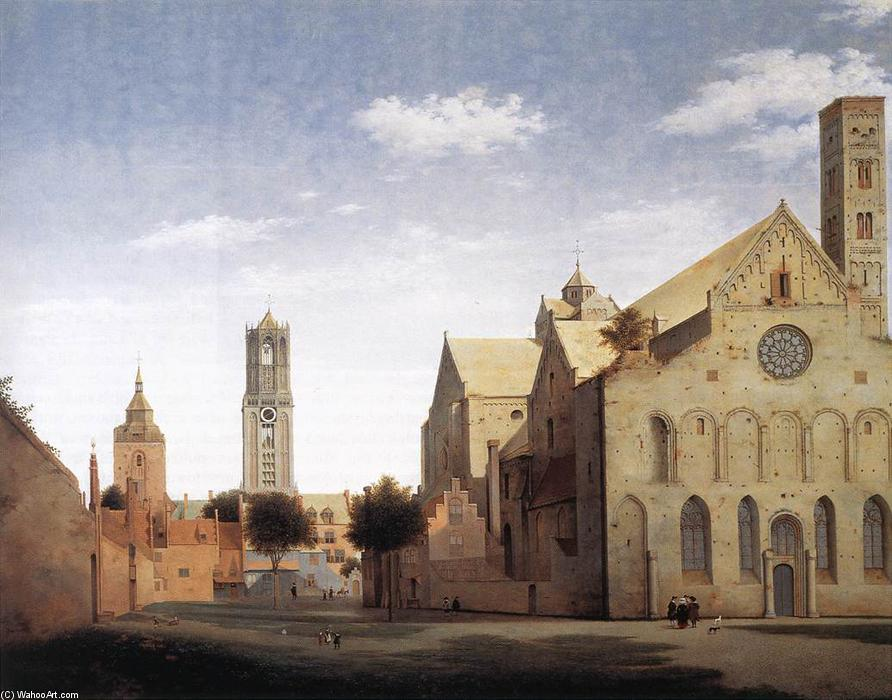St Mary's Square and St Mary's Church at Utrecht, Oil by Pieter Jansz Saenredam (1597-1665, Netherlands)