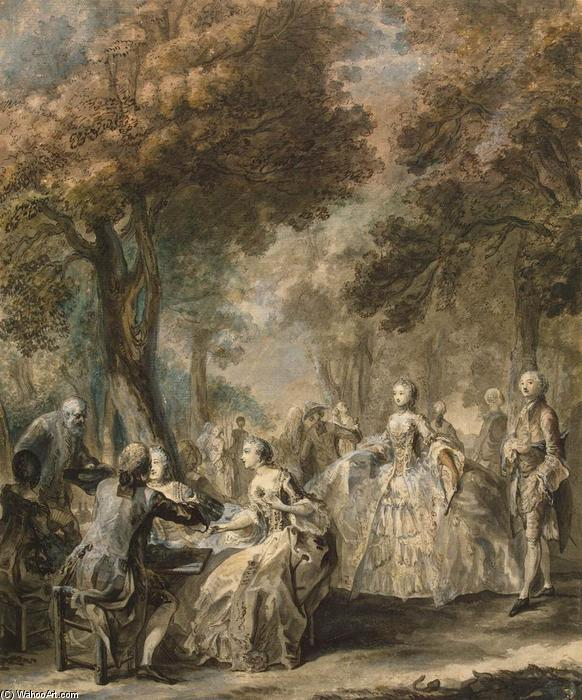 Company Taking a Promenade, 1760 by Gabriel Jacques De Saint Aubin (1724-1780) | Oil Painting | WahooArt.com