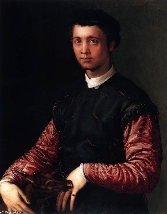 Portrait of a Young Man by Cecchino Del Salviati (1510-1563, Italy) | Famous Paintings Reproductions | WahooArt.com