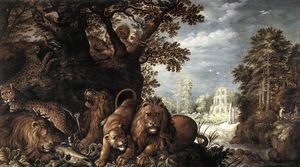 Roelandt Savery - Landscape with Wild Animals