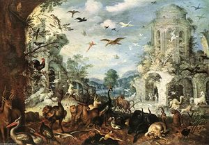 Roelandt Savery - Landscape with Wild Beasts