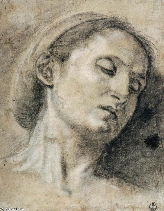 Head of a Woman with Eyes Closed, Chalk by Giovanni Girolamo Savoldo (1480-1548, Italy)