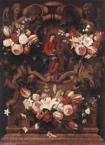 Daniel Seghers - Floral Wreath with Madonna and Child