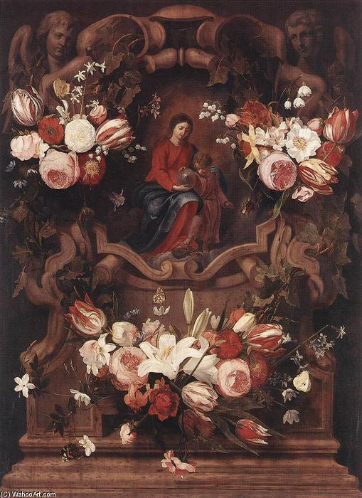 Floral Wreath with Madonna and Child by Daniel Seghers (1590-1661, Belgium) | Museum Art Reproductions Daniel Seghers | WahooArt.com