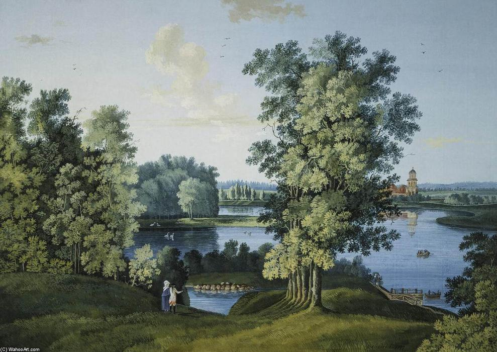 View of the Large Pond in the Park in Tsarskoye Selo, Pen by Semyon Fyodorovich Shchedrin (1745-1804, Russia)