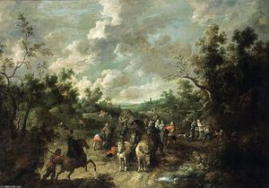 Pieter Snayers - A Wooded Landscape with Travellers