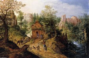 Pieter Stevens - Mountain Valley with Inn and Castle