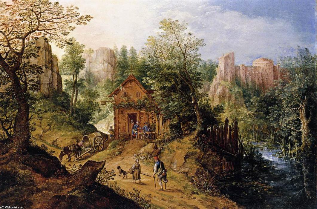 Mountain Valley with Inn and Castle, 1593 by Pieter Stevens (1567-1624, Belgium) | Art Reproductions Pieter Stevens | WahooArt.com