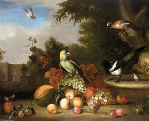 Tobias Stranover - Still-Life of Fruit and Birds