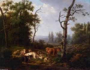 Jacob Van Strij Dordrecht - Wooded Landscape with Resting Cattle