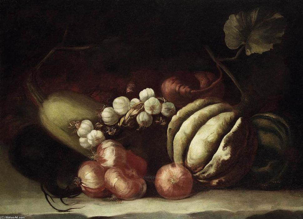 Still-Life of Vegetables by Simone Del Tintore (1630-1708, Italy) | Paintings Reproductions Simone Del Tintore | WahooArt.com