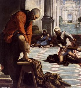 Order Museum Quality Reproductions : Christ Washing the Feet of His Disciples (detail), 1547 by Tintoretto (Jacopo Comin) (1518-1594, Italy) | WahooArt.com
