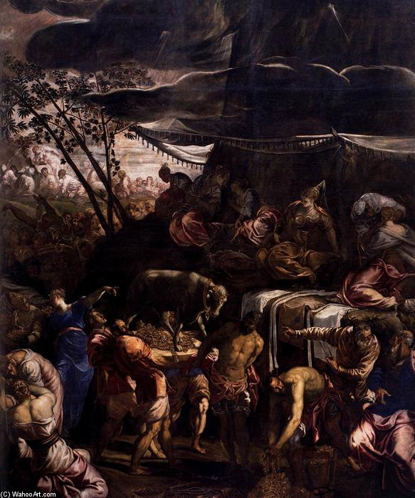 Moses Receiving the Tables of the Law (detail), 1560 by Tintoretto (Jacopo Comin) (1518-1594, Italy) | Painting Copy | WahooArt.com