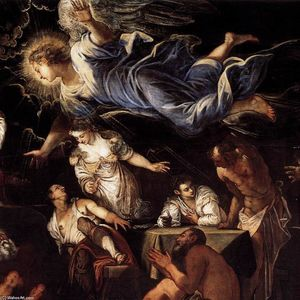 Tintoretto (Jacopo Comin) - St Roch in Prison Visited by an Angel (detail)