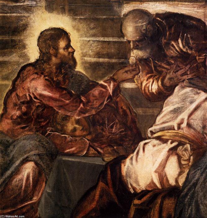The Last Supper (detail), 1579 by Tintoretto (Jacopo Comin) (1518-1594, Italy) | Painting Copy | WahooArt.com