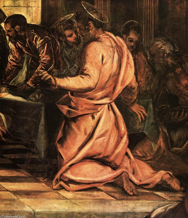 The Last Supper (detail), 1579 by Tintoretto (Jacopo Comin) (1518-1594, Italy) | Oil Painting | WahooArt.com