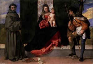 Tiziano Vecellio (Titian) - Madonna and Child with Sts Anthony of Padua and Roch