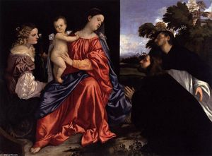 Tiziano Vecellio (Titian) - Madonna and Child with Sts Catherine and Dominic and a Donor