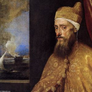 Tiziano Vecellio (Titian) - Portrait of the Doge Francesco Venier (detail)