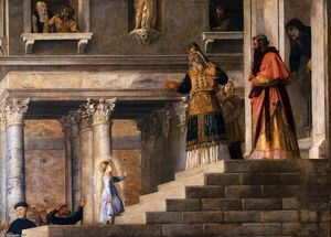 Tiziano Vecellio (Titian) - Presentation of the Virgin at the Temple (detail)