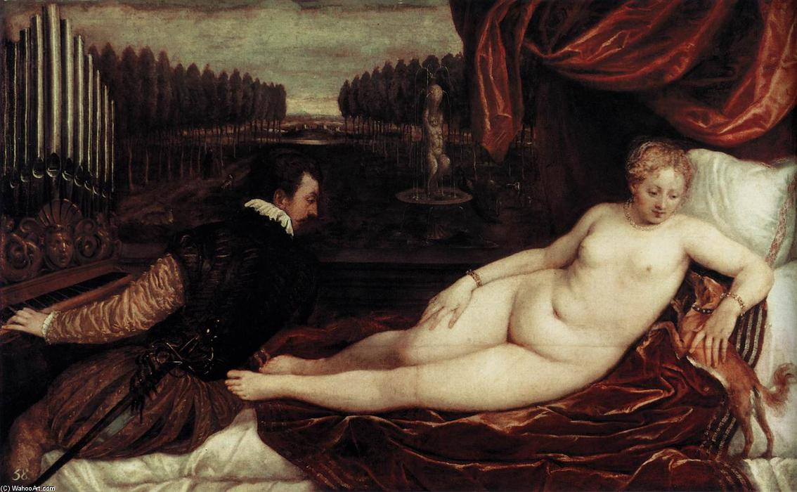Venus and an Organist and a Little Dog, 1550 by Tiziano Vecellio (Titian) (1490-1576, Italy) | Painting Copy | WahooArt.com