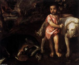 Tiziano Vecellio (Titian) - Youth with Dogs