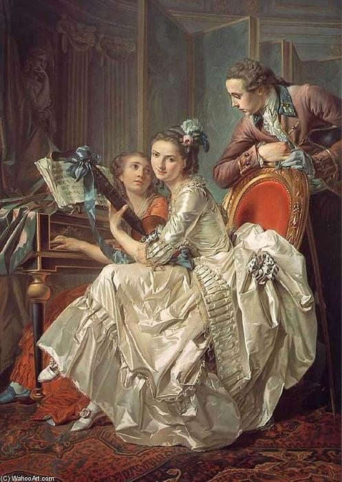 The Music Party, Oil On Canvas by Louis Rolland Trinquesse (1746-1799, France)