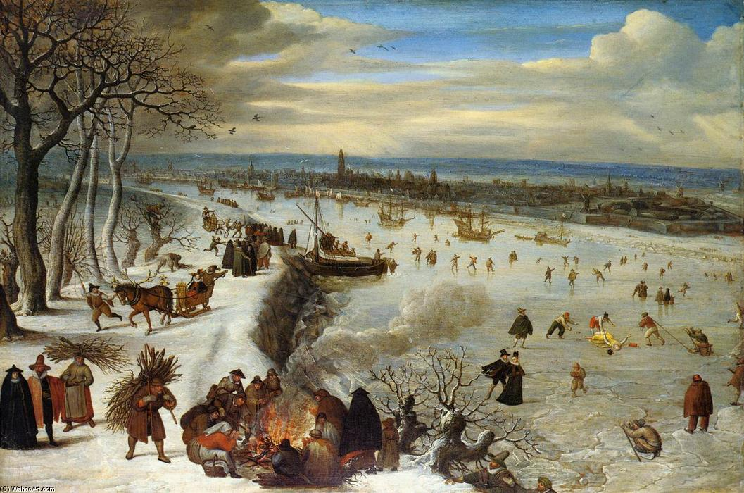 View of Antwerp with the Frozen Schelde, 1590 by Lucas Van Valkenborch (1535-1597, Belgium) | Art Reproductions Lucas Van Valkenborch | WahooArt.com