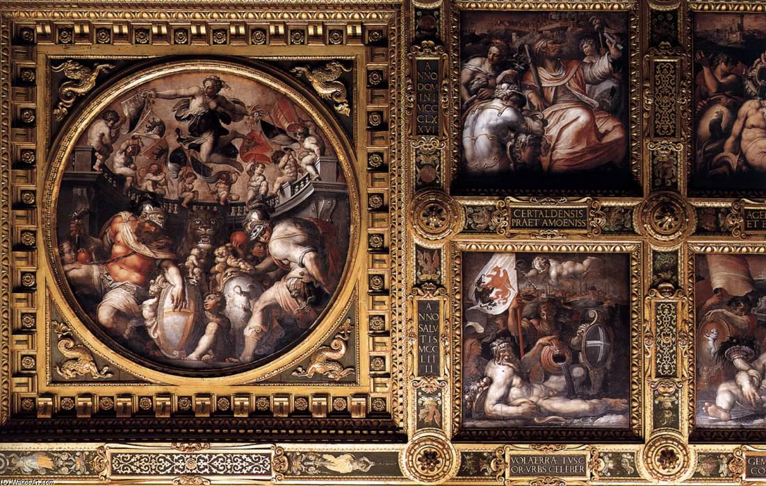 Ceiling of the Sala del Cinquecento (detail) by Giorgio Vasari (1511-1574, Italy) | WahooArt.com