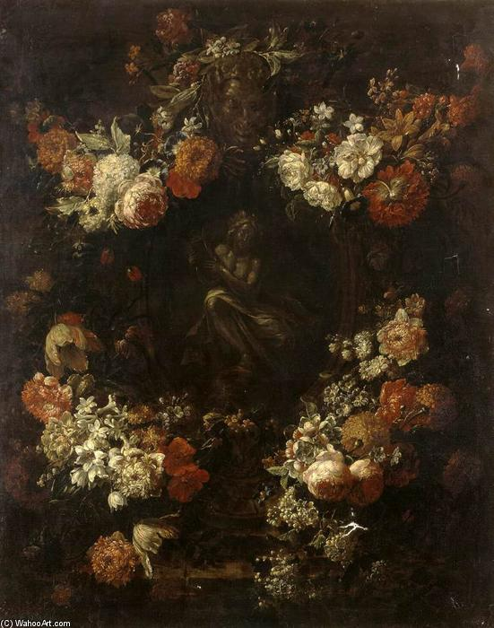 Order Famous Paintings Reproductions : Apollo the Kithara Player Framed with a Garland of Flowers, 1701 by Gaspar Pieter The Younger Verbruggen (1664-1730, Belgium) | WahooArt.com