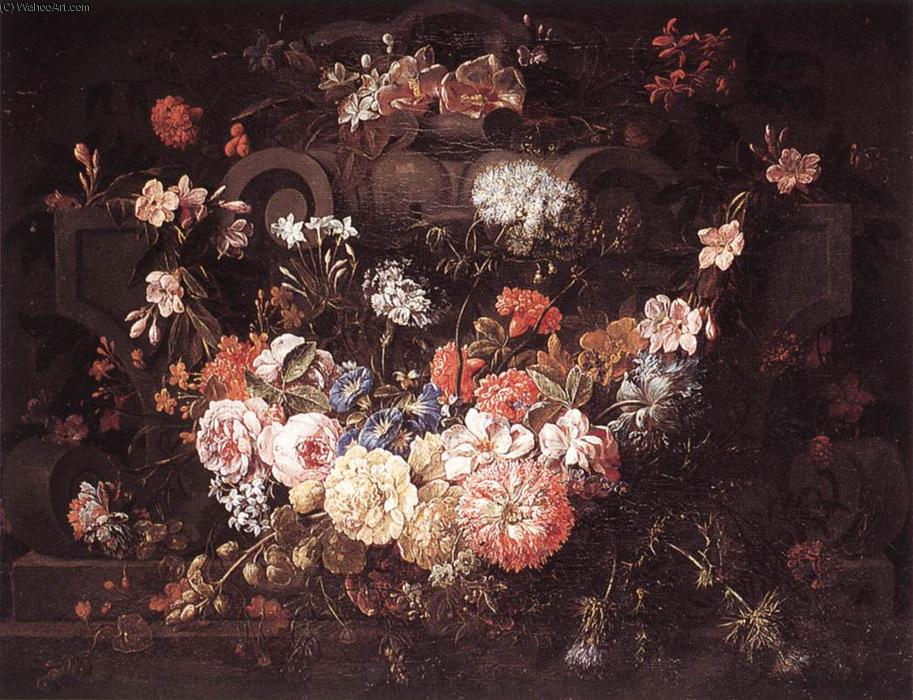 Cartouche with Flowers, Oil On Canvas by Gaspar Pieter The Younger Verbruggen (1664-1730, Belgium)