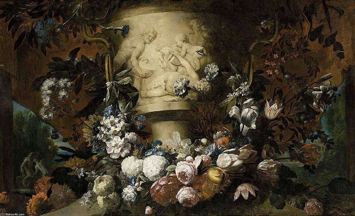 Garland of Flowers, Oil On Canvas by Gaspar Pieter The Younger Verbruggen (1664-1730, Belgium)