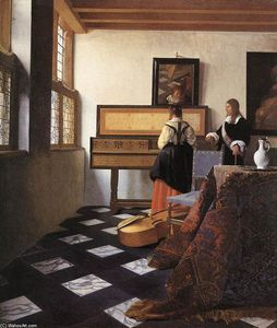 Jan Vermeer - A Lady at the Virginals with a Gentleman
